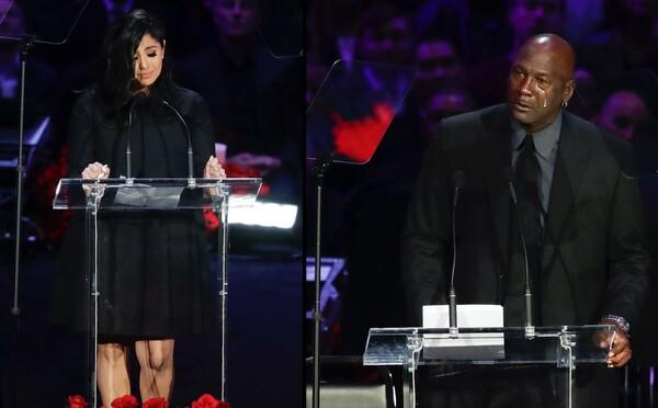 """""""Sme stále najlepší tím,"""" povedala Vanessa Bryant na dojímavej rozlúčke s manželom Kobem a dcérou Gigi. Plakal aj Michael Jordan"""