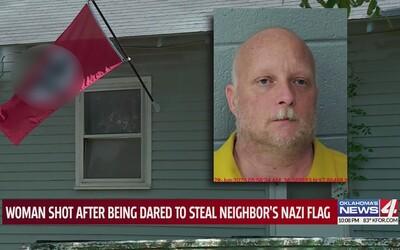 Majitel domu ověnčeného nacistickými vlajkami čtyřikrát postřelil ženu, která mu jednu ukradla v rámci sázky.