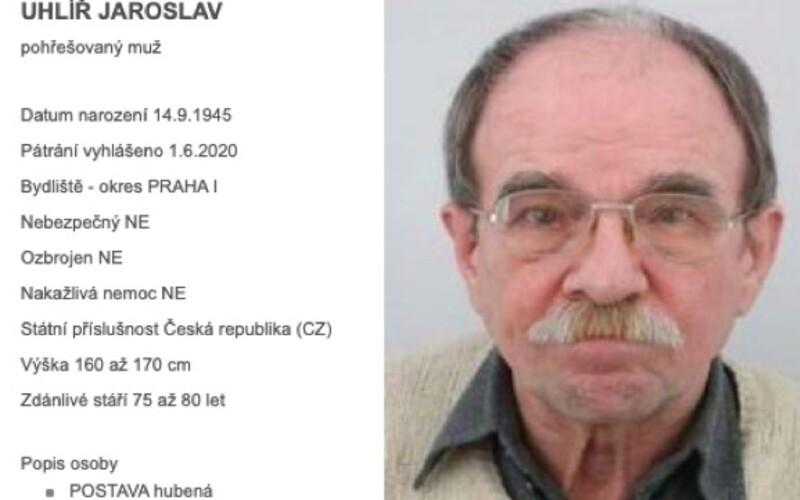 Jaroslav Uhlíř se ztratil. Pátrá po něm policie.