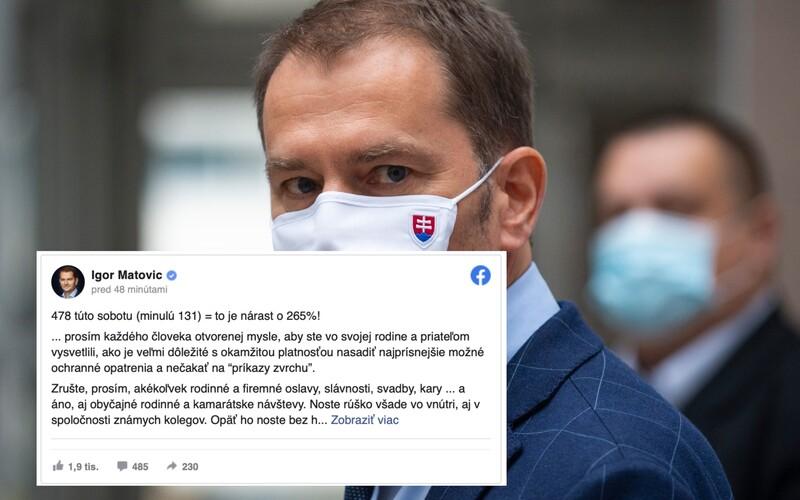 Zrušte akékoľvek rodinné oslavy a svadby, píše premiér Matovič, ktorý ich môže zakázať, na svojom Facebooku.