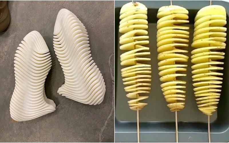 Kanye West novými gumenými teniskami Yeezy pobavil internet. Ľudia ich prirovnávajú k zemiakovej špirále či radiátoru.