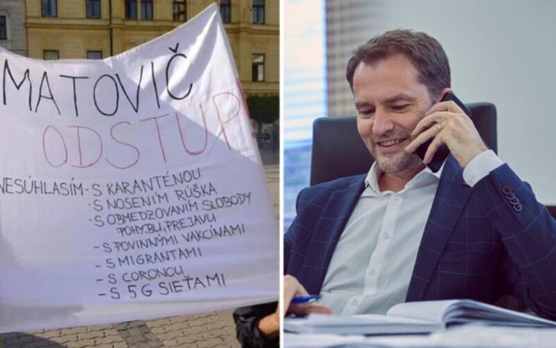 Odstúp, Matovič! Premiér sa dobre zabáva na transparente, ktorý mu pripisuje vinu za Covid-19 aj 5G.