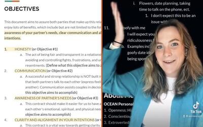 """23-ročná žena vytvorila 17-stranovú """"zmluvu o vzťahu"""" s partnerom, s ktorým chodila dva týždne"""