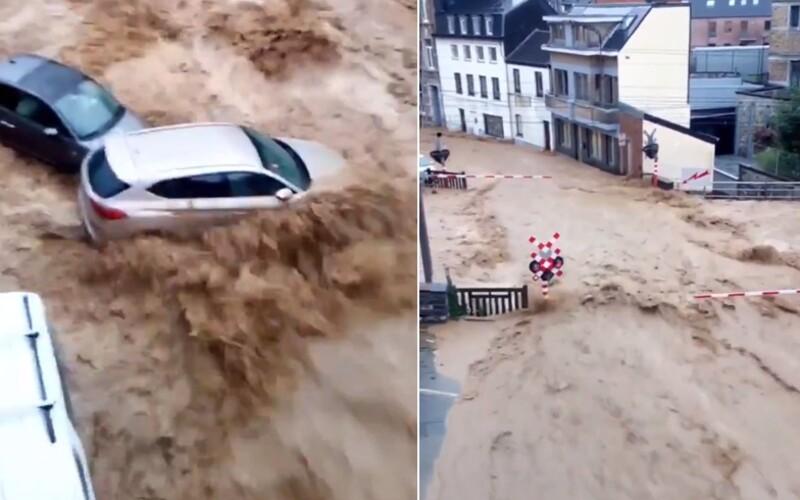VIDEO: Belgicko znovu zasiahli devastačné záplavy dva týždne po tých predchádzajúcich. Voda brala autá aj domy.