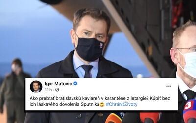 Matovič sa posmieva Bratislavčanom a uisťuje, že nikoho nebudú nútiť očkovať sa Sputnikom.