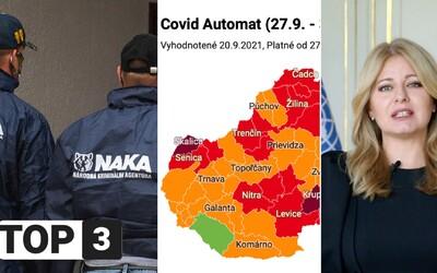 TOP 3 v stredu: Zelený už je len jeden okres, vojna v polícii sa nekončí a zahraničné médiá opäť chvália prezidentku Čaputovú