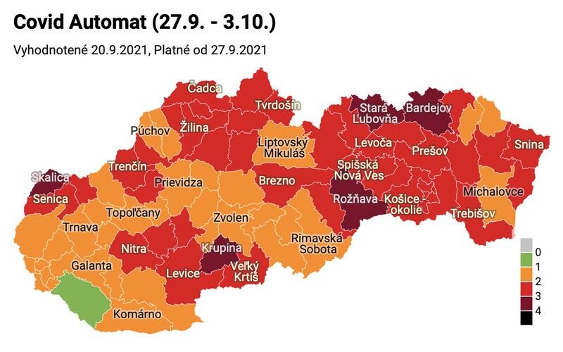 Nové rozdelenie: od pondelka bude 5 okresov v bordovej farbe. Zelená zostáva už len Dunajská Streda.