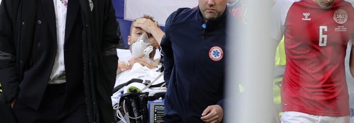 Dánsky futbalista počas zápasu na Eure 2020 proti Fínsku odpadol, oživovali ho 15 minút, zápas prerušili