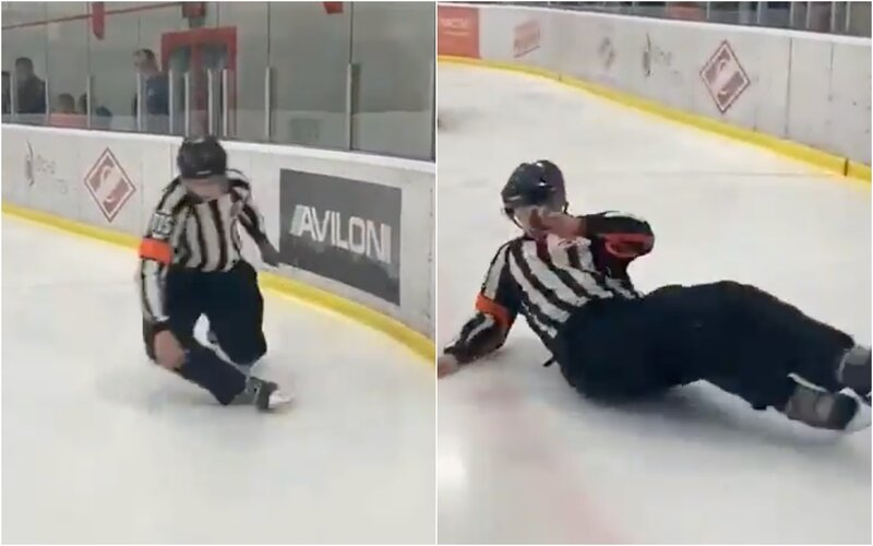 Internet se baví videem opilého ruského hokejového rozhodčího. Před zápasem prý utápěl žal kvůli hádce s přítelkyní.