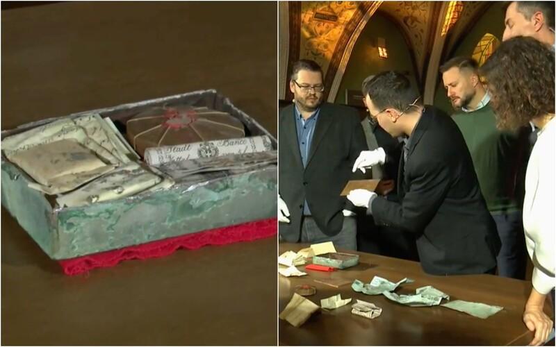 V Bratislave otvorili 176-ročnú časovú schránku z Michalskej veže. Obsahuje staré bankovky a historický odkaz.