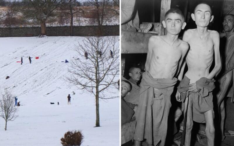 Lidé šli sáňkovat po masových hrobech obětí nacistického tábora Buchenwald, protože zimní střediska jsou kvůli pandemii zavřená.