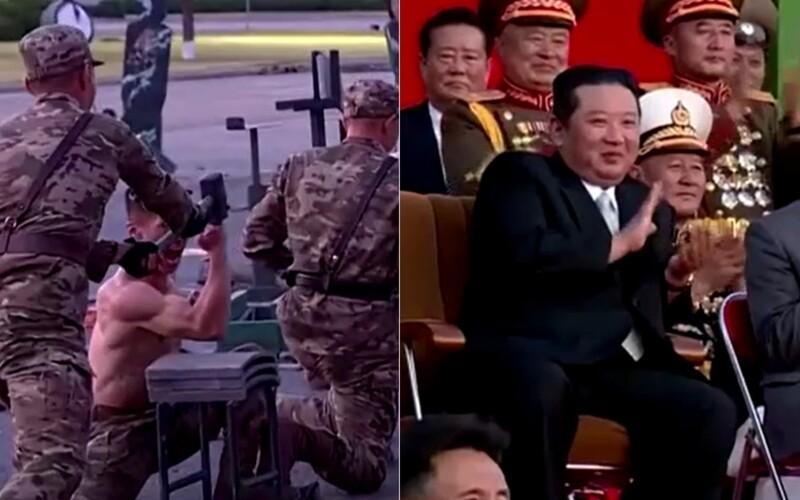 VIDEO: Kim Čong-un si vychutnával extrémne vystúpenia vojakov. Hlavou rozbíjajú tehly, telom trhajú reťaze či ležia na skle.