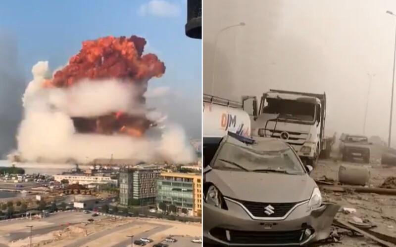VIDEO: Výbuch skoro jako z atomové bomby. Bejrút pohltila destrukce, někteří explozi natočili z bezprostřední blízkosti.