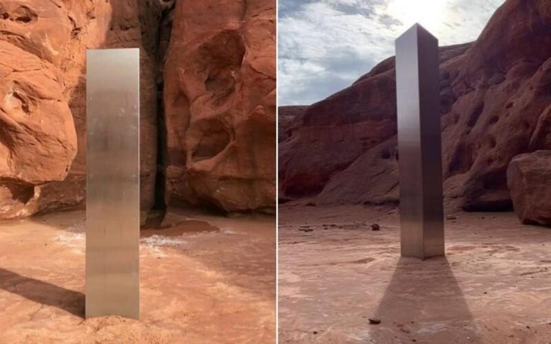 V poušti v Utahu našli záhadný monolit. Neví se, kdo ho tam umístil.