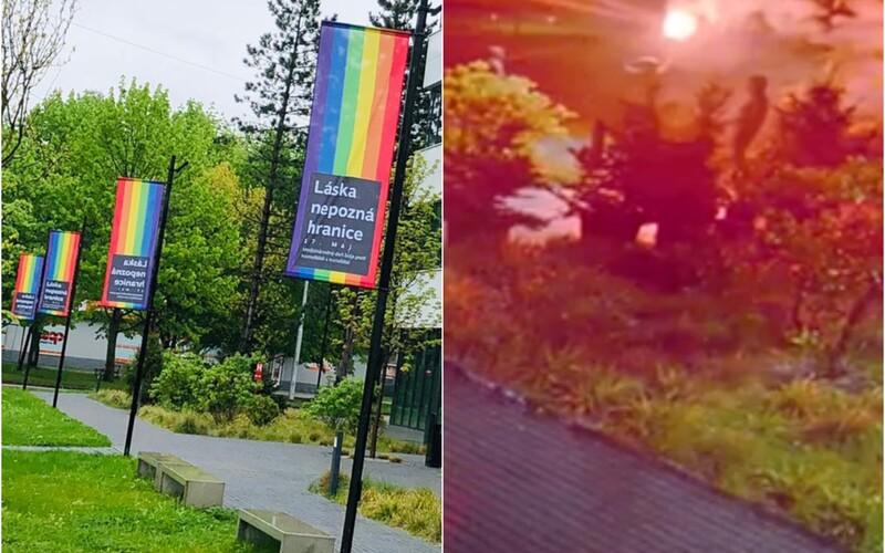 Vandali v Žiline podpálili dúhové vlajky podporujúce LGBT komunitu.