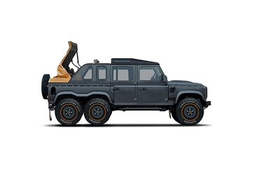 6 kol, 3 řady sedadel, V8 z Corvetty a plátěná střecha. Kahn Design opět hrotí Defender