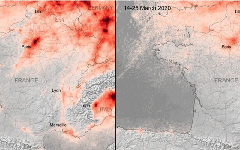 Koronavirus zlepšuje znečištěné ovzduší v Evropě, ukazují satelitní snímky.