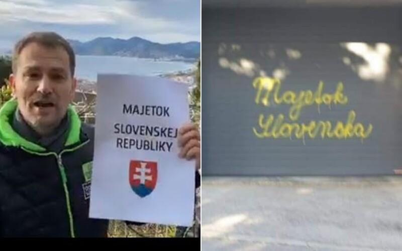 """Posprejovali garáž Počiatkovej vily pod Slavínom slovami """"majetok Slovenska"""". Niekto mi fušuje do remesla, odkázal premiér Matovič."""