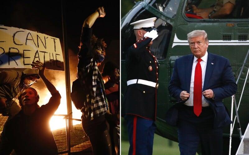 Demonstrace v USA se rozšířily už do 30 měst. Donald Trump se musel skrýt do bunkru. Situace v USA se stále neuklidnila.