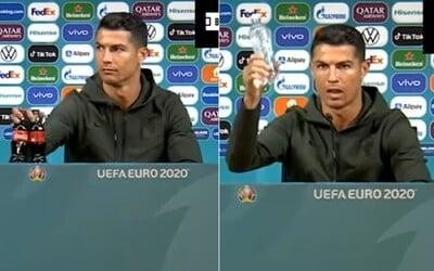VIDEO: Cristiano Ronaldo zrejme nenávidí Coca-Colu. Sladený nápoj odložil preč a vyzdvihol čistú vodu.