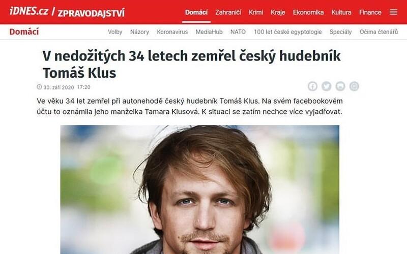 O smrti Tomáše Kluse koloval na internetu dvojitý fake. Klus nezemřel a web iDNES.cz o tom nepsal.