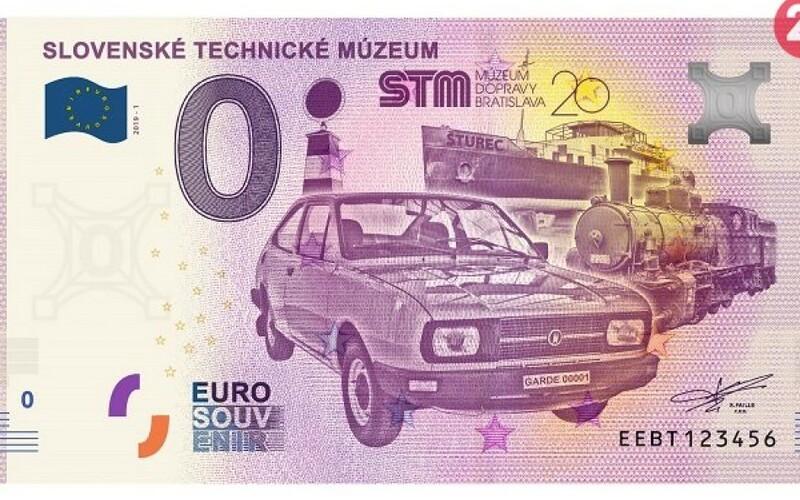 """Do Bratislavy sa dostane zberateľská bankova s vyobrazením prvej """"škodovky"""". Dostupná bude od 25. októbra za 3 €. (foto: EuroSouvenirSlovensko)"""