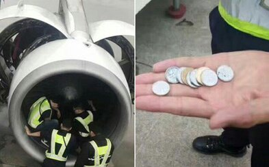 80-ročná starenka znemožnila odlet svojho letu, pretože do motora lietadla nahádzala mince. Policajtom vysvetlila, že to urobila pre šťastie