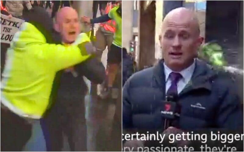 VIDEO: Antivaxeri poliali novinára počas živého vstupu močom. V Melbourne sú protesty už tretí deň.