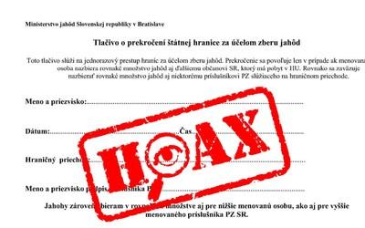 Na vycestovanie za zberom jahôd ti špeciálne tlačivo netreba. Slováci zase raz naleteli na úsmevný hoax.
