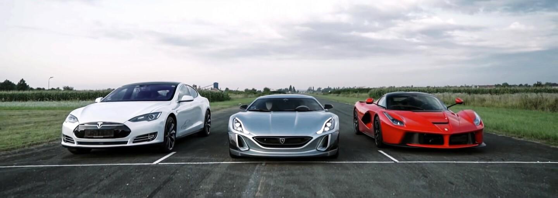 963koňové LaFerrari porazil ve sprintu nový elektromobil. Tesla to ale není!