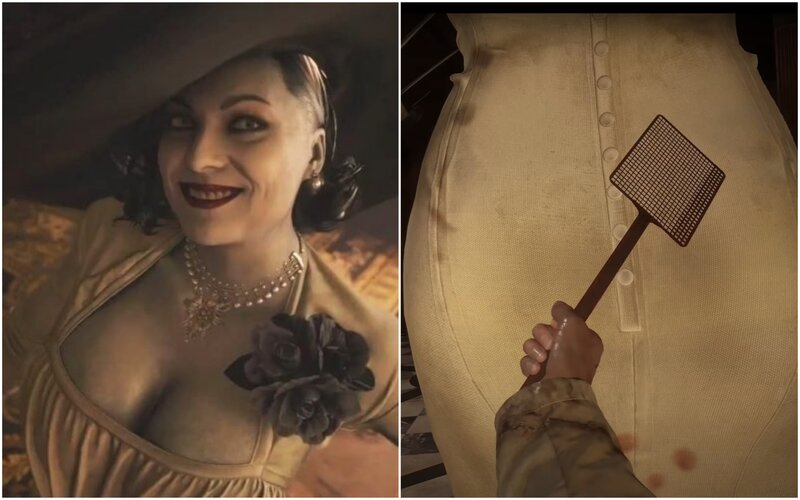Hráči v Resident Evil: Village udierajú 3-metrovú upírku Lady Dimitrescu po pozadí mucholapkou.
