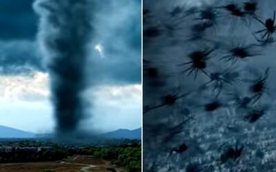 Pavúky skáčuce z tornáda požierajú ľudí. Arachnado je plné príšerných hereckých výkonov a chabého CGI.