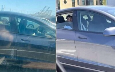 Tesla se řítila po dálnici bez řidiče za volantem se smějícím se mužem na zadním sedadle. Kalifornští policisté po něm pátrají.