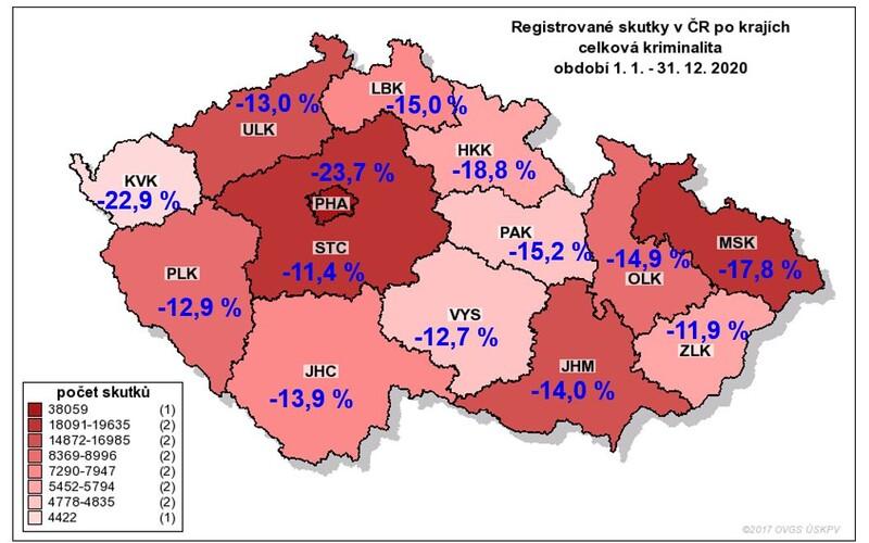 Kriminalita v Česku v roce 2020 klesla o více než 16 %.