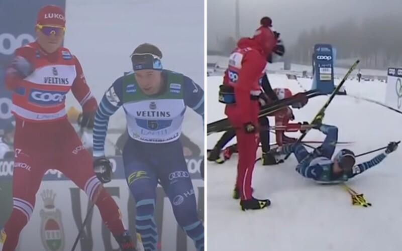 VIDEO: Frustrovaný Rus na lyžích surově srazil soupeře k zemi, těsně před cílem se po něm ohnal holí.