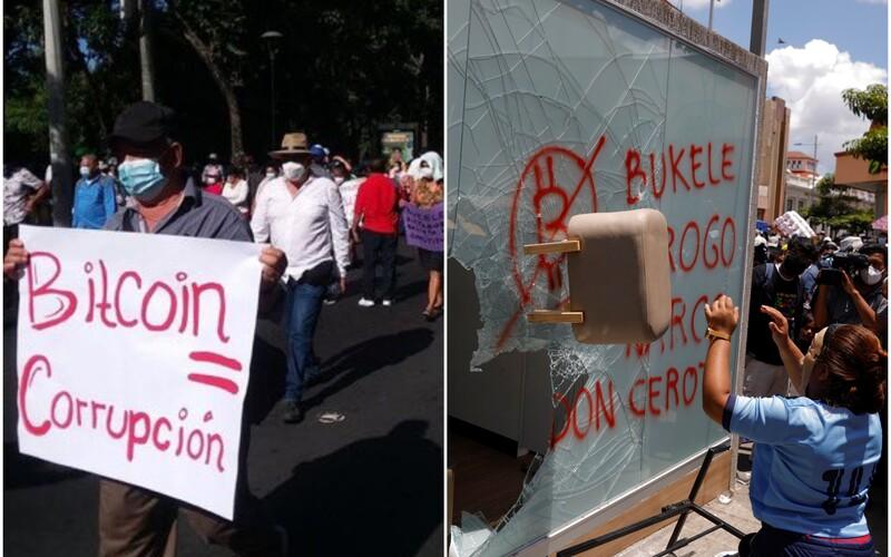 Tisíce lidí v Salvadoru protestovaly proti Bitcoinu jako oficiálnímu platidlu. Podpálily i bitcoinový bankomat.