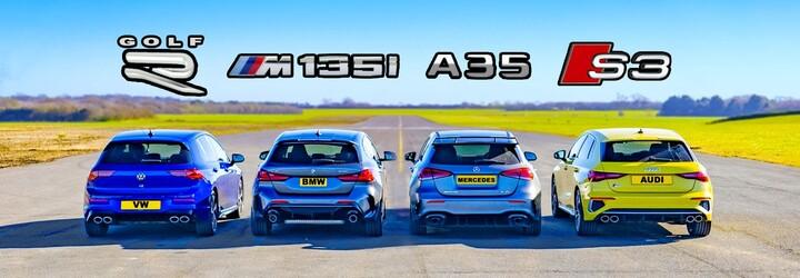 Nový Golf R pri šprintoch doslova rozdrvil konkurenčné Audi, BMW i Mercedes-AMG