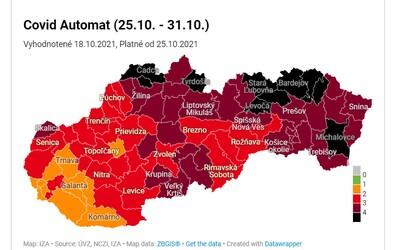 Covid automat: Na Slovensku je už 10 čiernych okresov. Pozri sa, aké pravidlá platia v mieste, kde žiješ.