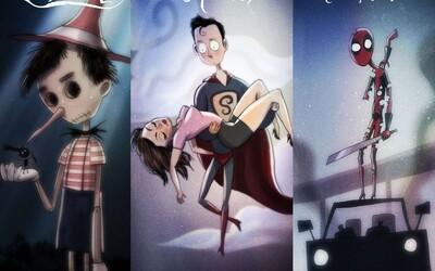 Ako by vyzerali rozprávky od Disney a komiksoví superhrdinovia očami Tima Burtona?