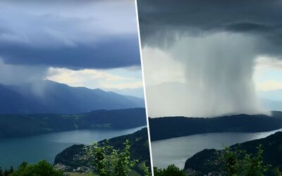 Ako nebeské tsunami. Turista zachytil nad alpským jazerom neuveriteľný prírodný fenomén, ktorý z oblaku zoslal obrovské množstvo vody