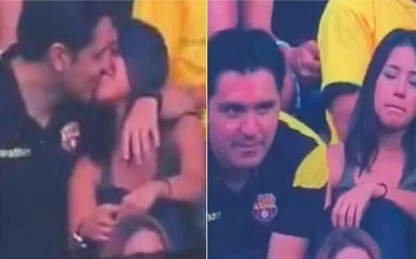 Akonáhle ich začala snímať Kiss Cam pri bozkávaní, muž sa odtiahol a tváril sa akoby nič