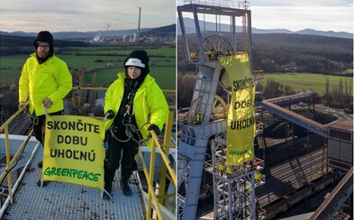 Aktivisti z Greenpeace boli zadržaní a prevezení do Ilavy. Protest proti uhoľným baniam nevyšiel podľa predstáv