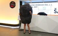 Aktivistka z Greenpeace narušila valnou hromadu ČEZ v převleku za uhlí. Musela se svléknout do spodního prádla