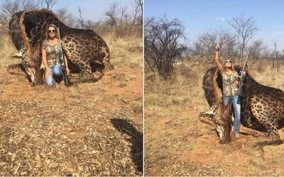 Americká lovkyně hrdě pózovala s mrtvou žirafou, kterou zastřelila