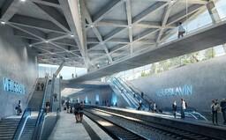 Architekti odhalili novou podobu pražské vlakové stanice. Pyšní se surovým betonem a modrým podsvětlením