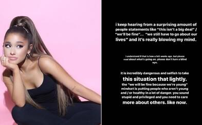 Ariana Grande o koronavíruse: Brať situáciu na ľahkú váhu je neuveriteľne nebezpečné a sebecké, zniete hlúpo