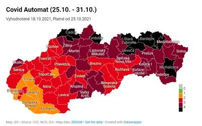 Mapa okresov: pozor, týchto 10 okresov bude od pondelka v čiernej farbe.