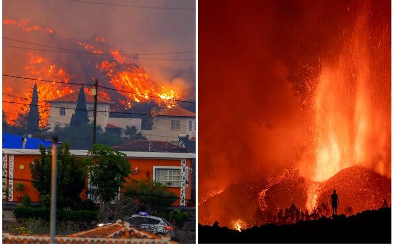 """VIDEO: Rozpálená láva ničí Kanárské ostrovy, shořelo už sto domů. Podle prezidenta to """"nebude rychlá erupce""""."""