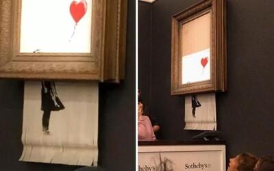 Banksyho dílo bylo vydraženo za 30 milionů korun, hned potom ho ale začal skartovat