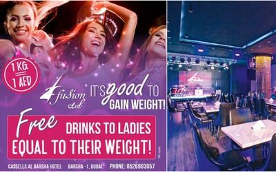 Bar v Dubaji ponúka pre ženy drinky zadarmo. Záleží však na tom, koľko vážia